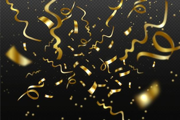 Realistic design golden confetti background