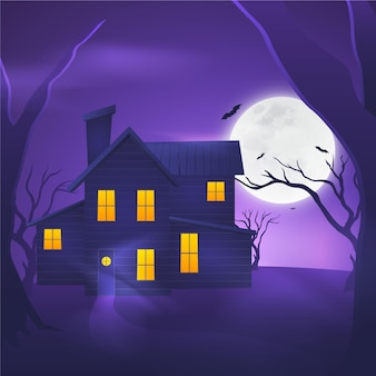 Realistic design halloween house