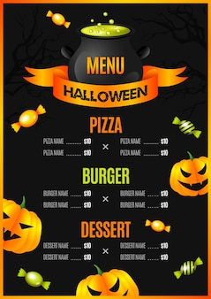 Realistic design halloween menu template