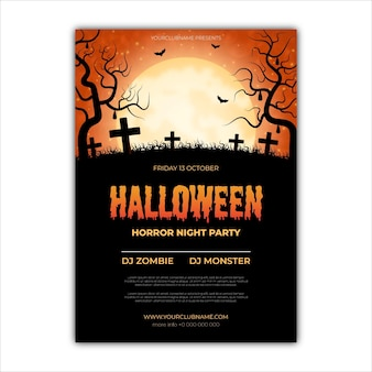 Realistic design halloween party poster