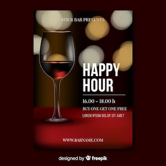 Realistic design happy hour poster template