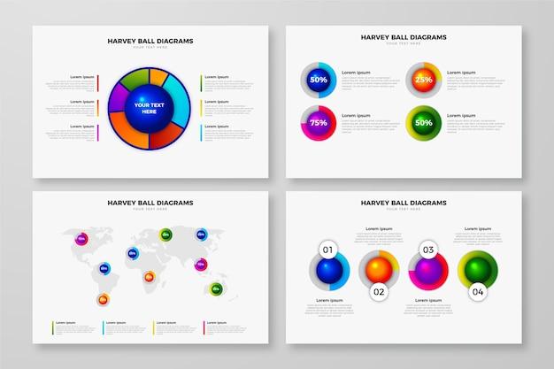 Realistic design harvey ball diagrams