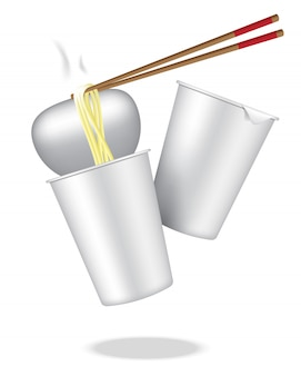 Realistic design hot cup noodle on white