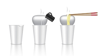 Realistic Design Hot Cup Noodle