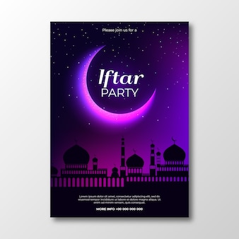 Realistic design iftar invitation template