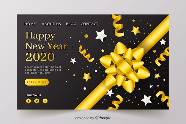 Realistic design new year landing page