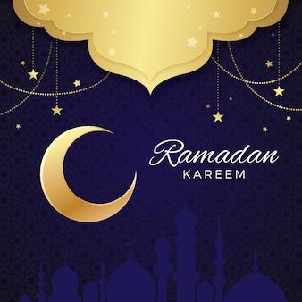 Realistic design ramadan withcrescent moon