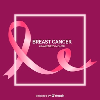 Realistic design ribbon for breast cancer awareness