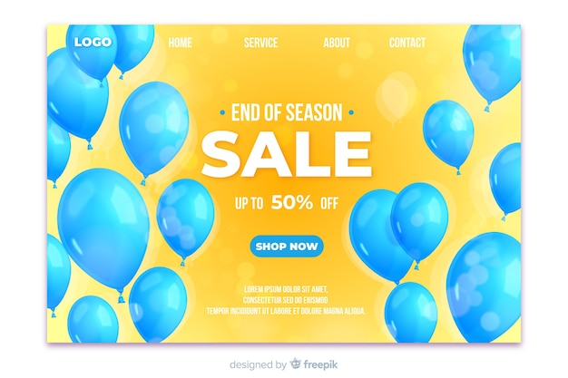 Realistic design sale landing page with balloons