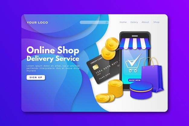 リアルなデザインのショッピングオンラインホームページ