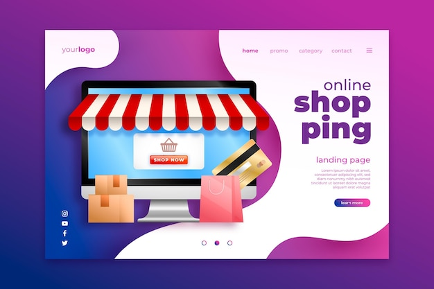 Realistic design shopping online landing page
