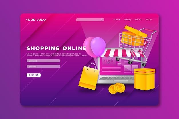 Realistic design shopping online website