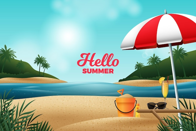 Realistic design summer background