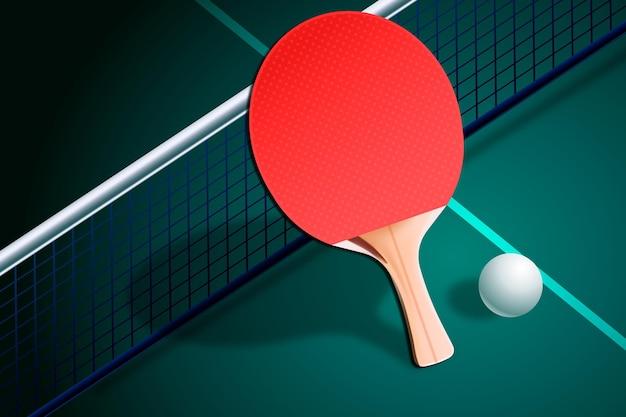現実的なデザインの卓球の背景