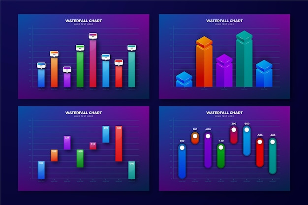 Realistic design waterfall chart collection