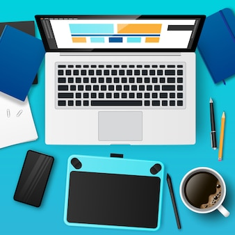 Realistic designer workplace with laptop, graphic tablet, coffee. 3d website layout design, ui and ux development