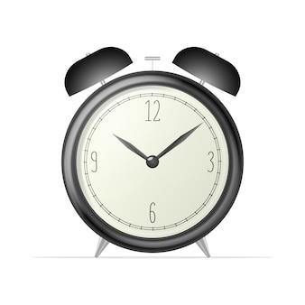 リアルなデスククロック。白い背景に分離された黒のレトロな目覚まし時計。レトロな時計。風の強いイラスト。