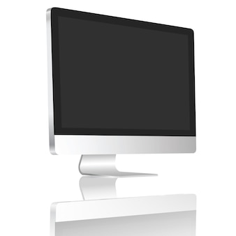Realistic desktop blank screen set on 45 degree isolate on white background.