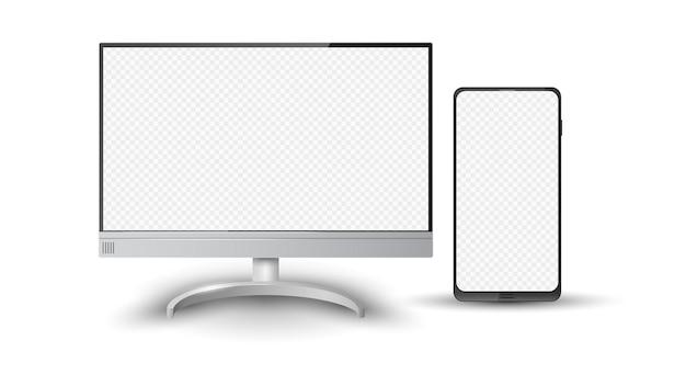 リアルなデスクトップコンピュータの画面と携帯電話のモックアップベクトル図