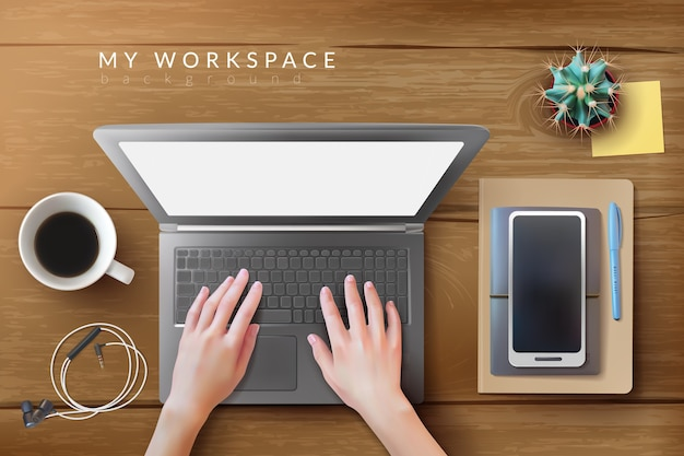 Реалистичный рабочий стол на рабочем месте, макет ноутбука