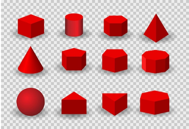Realistic detailed 3d color basic shapes set isolated. include of cube, cylinder, sphere and cone.