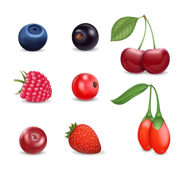 Реалистичные подробные 3d разные ягоды