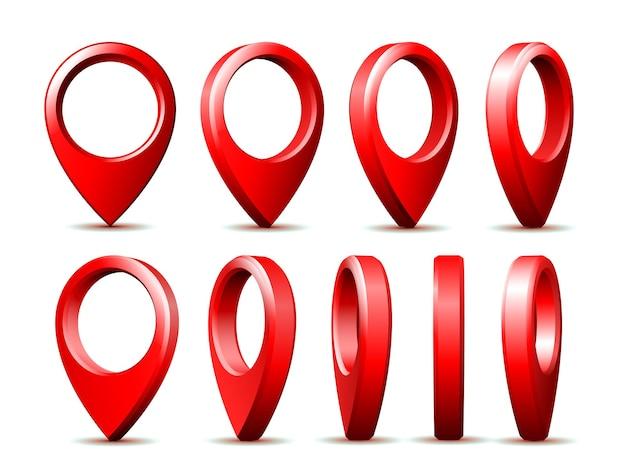 さまざまな位置に設定されたリアルな詳細な3dレッドマップポインターピン。場所とナビゲーションのシンボル。ピンのベクトル図
