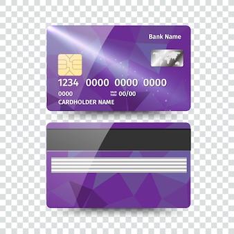Реалистичная подробная кредитная карта с абстрактным геометрическим дизайном, изолированные на белом фоне. иллюстрация