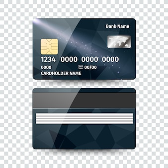 Realistic detailed credit card with abstract geometric design isolated on white background.  illustration