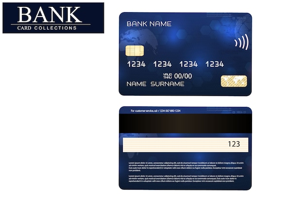 Realistic detailed credit cards set with colorful abstract design background.