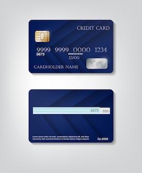 현실적인 자세한 신용 카드는 화려한 파란색 추상 배경으로 설정합니다. 전면 및 후면 템플릿