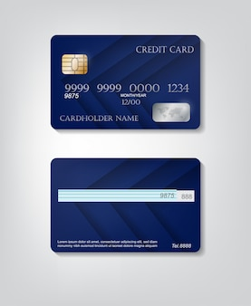 Realistic detailed credit cards set with colorful blue abstract background. front and back side template