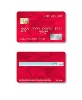 Realistic detailed credit cards set with colorful red abstract background. front and back side template