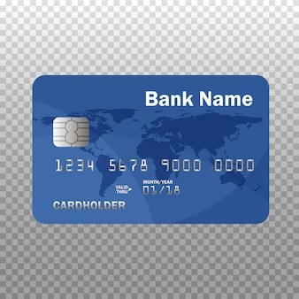 Realistic detailed credit or debit card isolated on transparent .  illustration. isolated