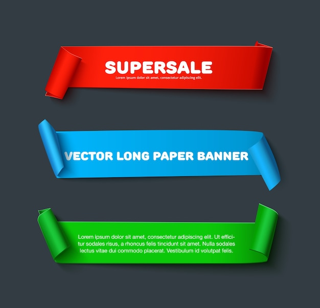 Realistic detailed curved paper ribbon banners isolated on dark background.