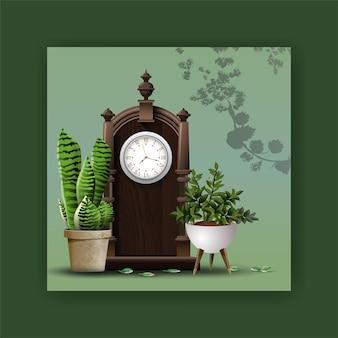 현실적인 자세한 집이나 사무실 식물, 골동품 오래 된 현실적인 시계, 인테리어 디자인 및 장식.