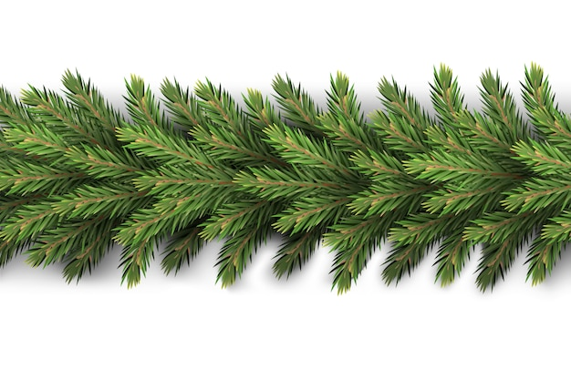 A realistic, detailed new year's garland made  pine tree branches to create postcards, banners for the siterealistic xmas decoration elements.