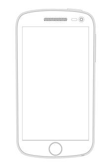 Реалистичный подробный контурный рисунок смартфона, черный на белом Premium векторы