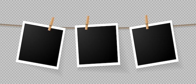 Realistic detailed photo icon template set