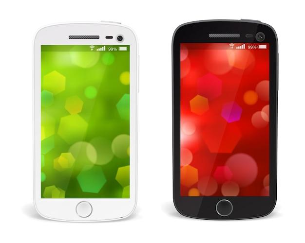 Реалистичные подробные смартфоны с изолированной тенью