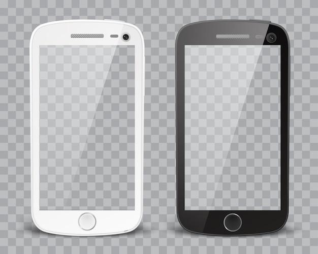 Реалистичные подробные смартфоны с прозрачным экраном на прозрачном фоне. прозрачность только в векторном формате