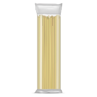 Realistic detailed spaghetti pasta in a transparent cellophane pack italian meal food. vector illustration
