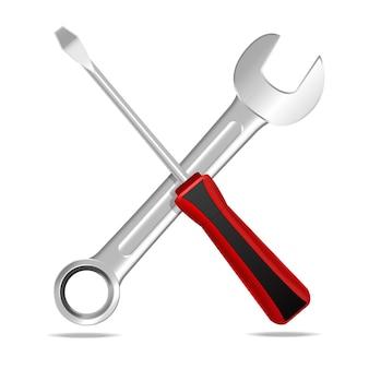 서비스 수리 작업 사업을 위한 현실적인 상세한 강철 렌치 및 스크루 드라이버 장비.