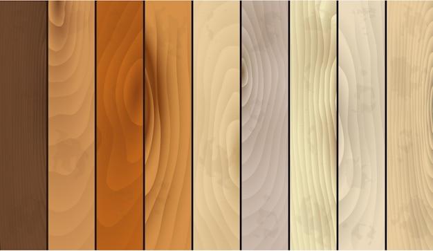 Реалистичные подробные деревянные текстуры полосатый набор натуральный материал для домашнего интерьера в стиле. векторная иллюстрация