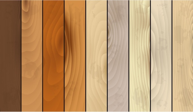 Realistic detailed wooden texture striped set natural material for style home interior. vector illustration