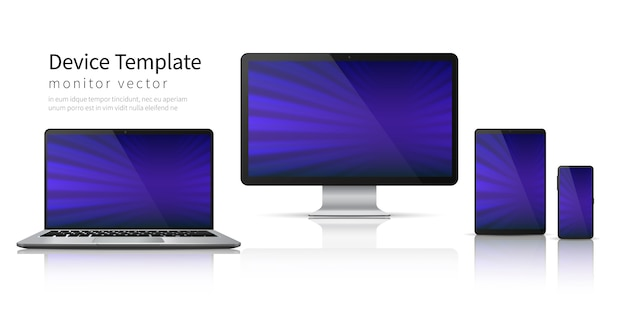 Realistic devices. computer laptop tablet phone , smartphone screen mobile gadget display. monitor device template
