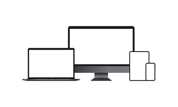 현실적인 장치 아이콘 세트입니다. 컴퓨터 모니터, 노트북, 스마트폰. 흰색 빈 화면입니다. 격리 된 흰색 배경에 벡터입니다. eps 10.