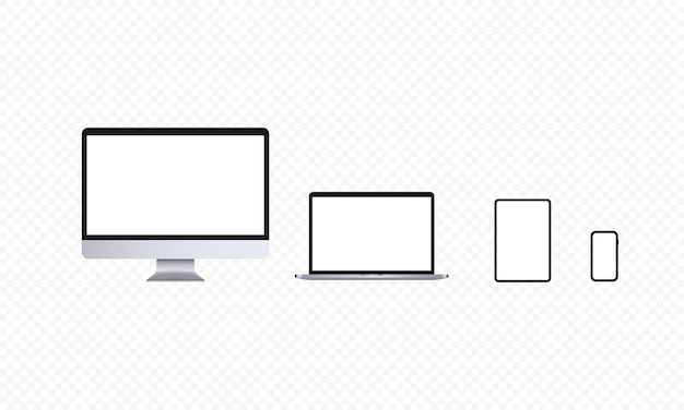 Realistic devices icon set. computer screen, notebook, tablet and smartphone. light theme. laptop, pc display. vector on isolated transparent background. eps 10.