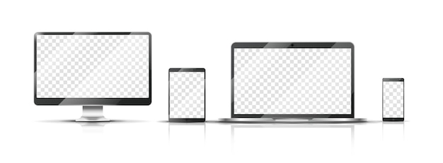 リアルなデバイスのモックアップ。スマートフォン、透明な画面でノートパソコンやタブレットを監視します。分離されたモバイルベクトルイラスト。スマートフォンとラップトップ、タブレットと電話のタッチスクリーン