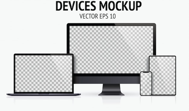 Realistic devices set of monitor, laptop, tablet, smartphone dark grey color